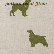 Linen fabric printed dogs